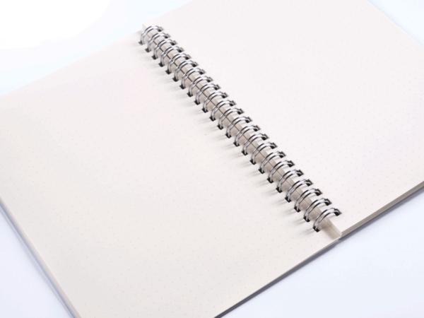 Dot-grid notebook open up