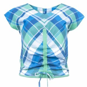 Emerald-Blue Cotton Plaid Top - Front view