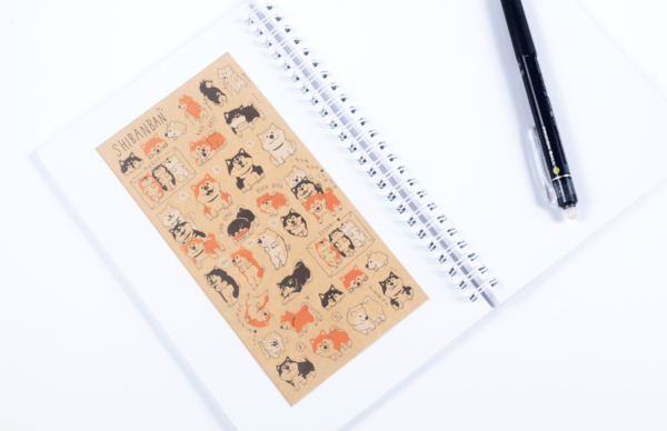 Shibanban stickers in recycled paper with notebook