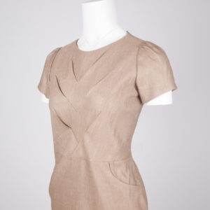 Oru pocket dress - Tan, front view perspective close up