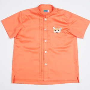 Woof Pup Short Sleeve shirt – Orange front view
