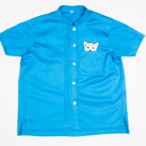 Woof Pup Short Sleeve shirt – Blue front view