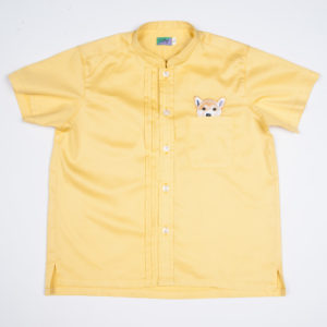 Woof Pup Short Sleeve shirt – Yellow front view