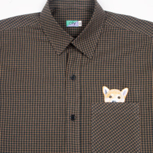 Woof Short Sleeve shirt - Dark Brown, half body close up