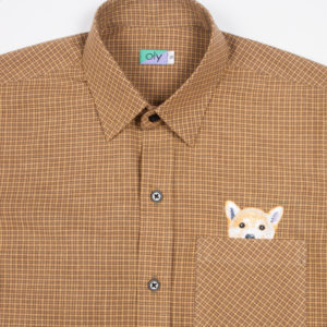 Woof Short Sleeve shirt - Straw half body view
