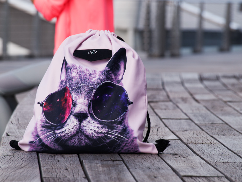 Cool Cat Drawstring bag close up feature