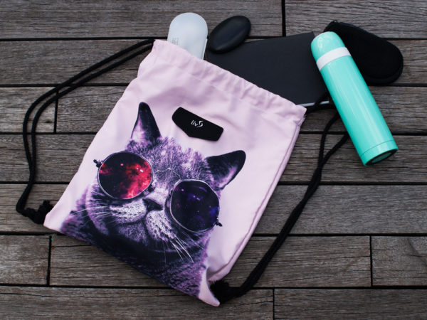 Cool Cat Drawstring bag front layout