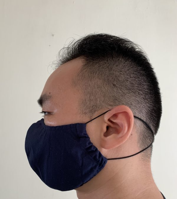 Side view of fabric mask